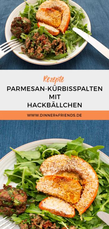Hackbällchen aus dem Airfryer mit Parmesan-Kürbisspalten