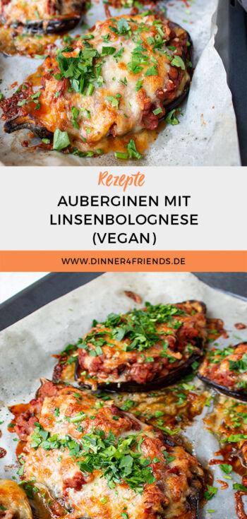 Auberginen mit Linsenbolognese gefüllt (vegan)