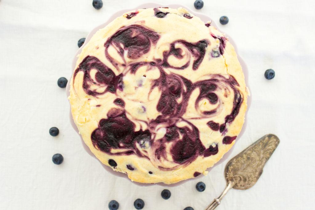 Käsekuchen mit Blueberry Swirl