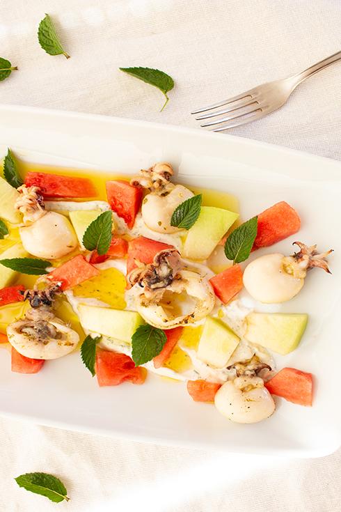 Calamari mit Melonensalat nach Johann Lafer