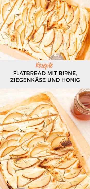 Flatbread mit Birne, Rosmarin, Honig und Ziegenfrischkäse