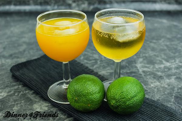 Maracuja-Saft, Ginger Ale, Limette, Mineralwasser - alles schön gekühlt - ergeben einen Ipanema. Alkoholfrei, aber lecker!