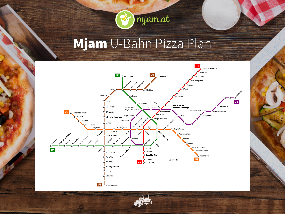 Der Ubahn Plan zu den besten Pizza-Lieferdiensten in Wien