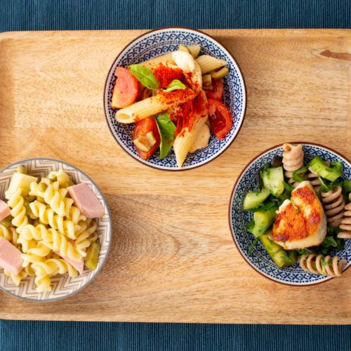 3 Nudelsalat-Varianten : klassisch, Low Carb, mediterran-vegetarisch