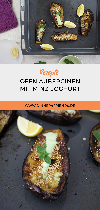 Ofen-Auberginen mit Minz-Joghurt