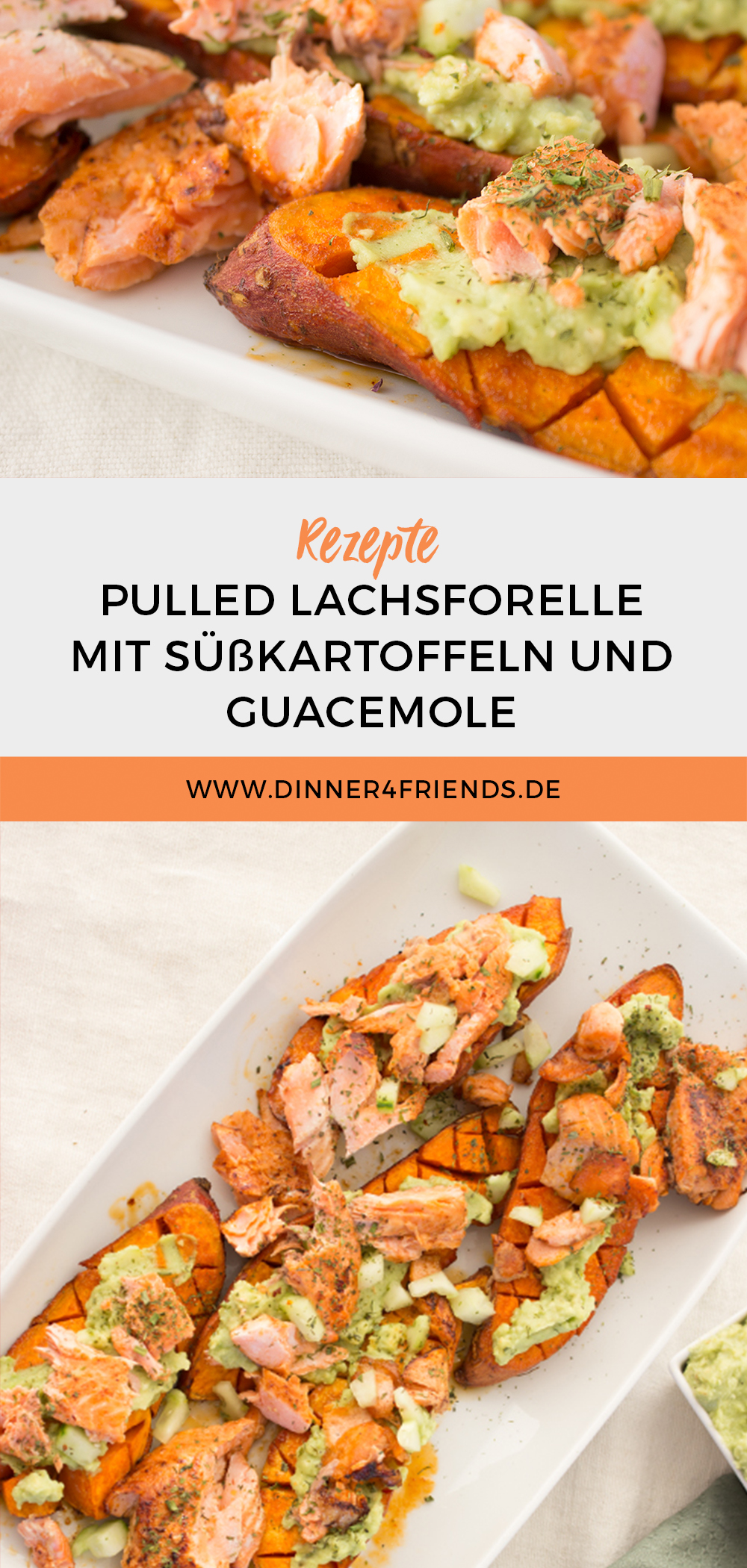 Pulled Lachsforelle mit Guacamole