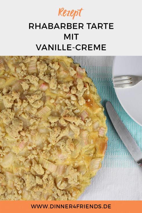 Rhabarbercreme mit Vanillecreme mit Streuseln