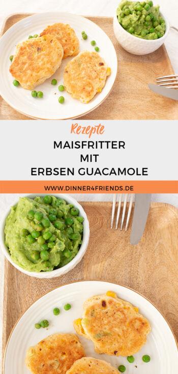 Schnelles Abendessen: Maisfritter mit Erbsen-Guacamole