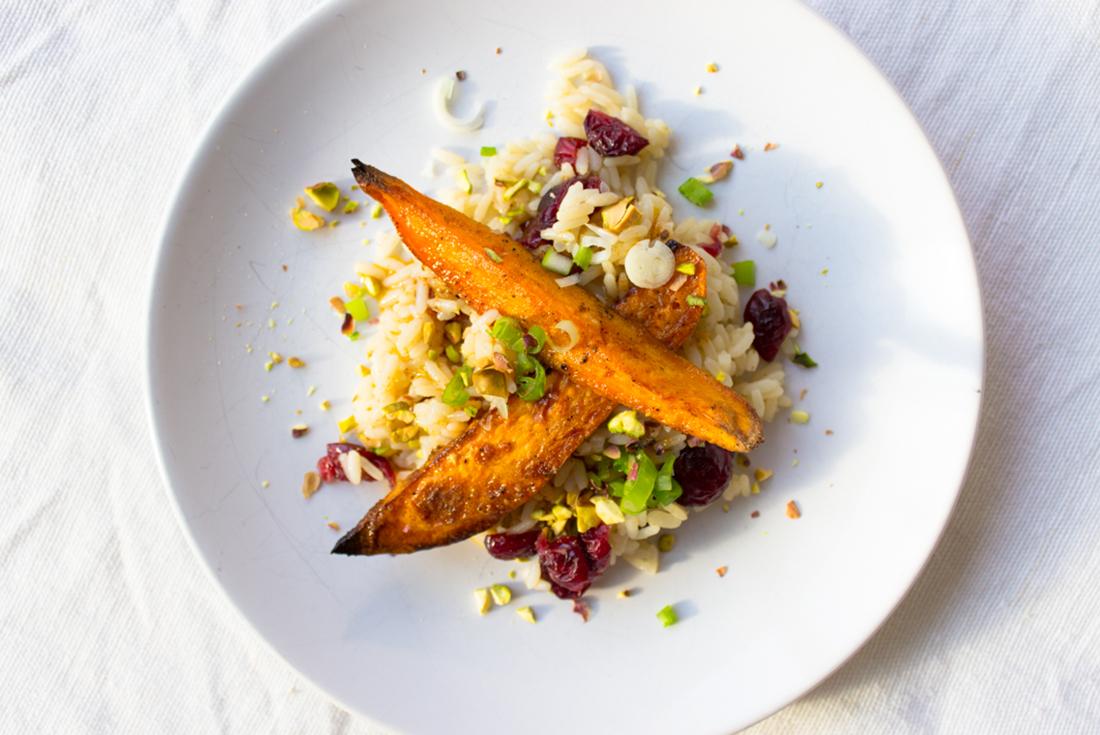 Reissalat mit Süßkartoffeln und Cranberries
