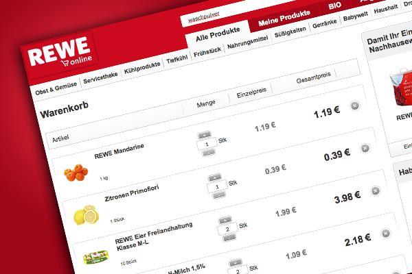 Superpraktisch, tolle Qualität zum gleichen Preis wie im Supermarkt: Online einkaufen bei Rewe.